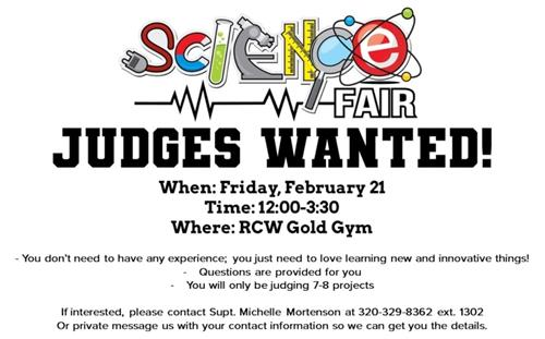 Science Fair Judges wanted